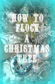 DIY Flocked Christmas Tree {A Tutorial} - A Sunday Afternoon.using spray paint,then house paint and artifical snow Crochet Christmas Wreath, Flocked Christmas Trees, Beautiful Christmas Trees, Winter Christmas, Christmas Tree Decorations, Vintage Christmas, Christmas Holidays, Christmas Wreaths, Christmas Ideas