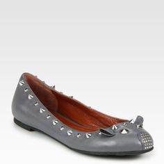 Marc By Marc Jacobs Studded Leather Mouse Ballet Flats in Gray (grey)