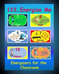 """The following activity; """"1-2-3…Energize Me"""" is a """"high energy, fun and organized"""" classroom activity that gives your students a chance to move their bodies in a number of ways, while learning to recognize their numbers from 1-20."""