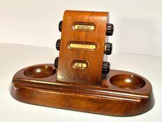 Vintage Art Deco Walnut Bakelite Desk Top Perpetual Calendar F & M Patent Made In USA by stillWorksPDX on Etsy https://www.etsy.com/listing/272870890/vintage-art-deco-walnut-bakelite-desk