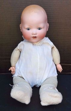 """Vtg ANTIQUE 1900's DREAM BABY DOLL ARMAND MARSEILLE GERMANY 17.5"""" Long 351/6. Sherry's doll."""