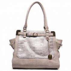 taupe tan snake skin detail top buckle leatherette tote fashion handbag purse