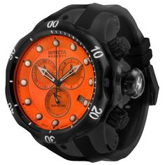 Invicta 5735 Men's Subaqua Venom Reserve Orange Dial Black IP Steel Black Rubber Strap Chronograph Dive Watch
