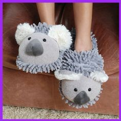 """Fuzzy Friends """"Koala"""" Slippers from Aroma Home Funny Slippers, Pajama Day, Bedroom Slippers, Sock Crafts, Cool Gifts, Girly Things, Sneakers, Shoes, Koala Bears"""