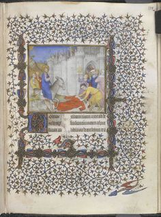 The British Library Catalogue of Illuminated Manuscripts - lovely scrolling infil in this D