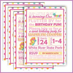Cute butterfly flowers birthday party invitation birthday party find this pin and more on birthdays butterfly birthday invitation bug birthday party stopboris Choice Image