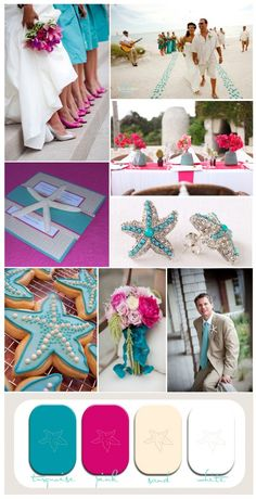 Although I will probably never be allowed to us pink...these colors are so pretty! pink and turquoise beach wedding inspiration with starfish.