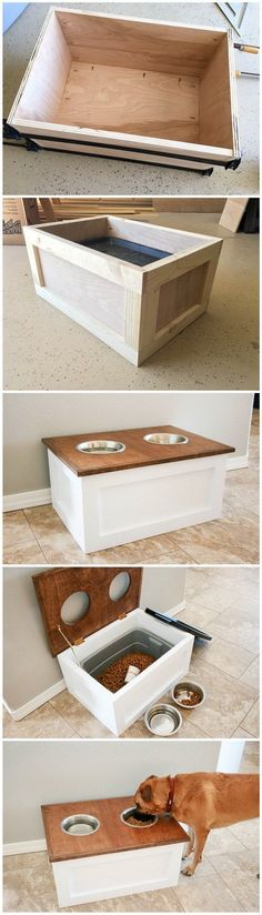 and Easy DIY Furniture Hacks DIY Dog Food Station with Storage: DIY Dog Food Station with Storage underneath! Here is a free plan for you.DIY Dog Food Station with Storage: DIY Dog Food Station with Storage underneath! Here is a free plan for you. Woodworking Projects Diy, Teds Woodworking, Intarsia Woodworking, Woodworking Joints, Woodworking Workshop, Woodworking Classes, Woodworking Furniture, Diy Furniture Hacks, Dog Furniture