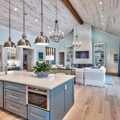 Outrageous Open Concept Kitchen Living Room Layout Tips – homeknicknack – Home Renovation Open Kitchen And Living Room, Home Decor Kitchen, Home Kitchens, Open Living Rooms, Dining Room, Blue Kitchen Ideas, Beach House Kitchens, Open Space Living, Eclectic Kitchen
