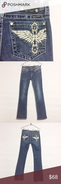 Miss Me Jeans 33 inch inseam Back pocket design is made from white leather and rhinestones. They have been well loved, as you can see from the bottom Hem (short girl problems lol) 33 inch inseam. Open to offers. No trades. Miss Me Jeans Boot Cut