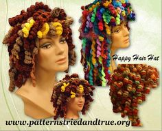 Happy Hair Hat Crochet Wig Pattern. Fun, easy beginners pattern with lots of descriptive pictures. Use your yarn leftovers to arrange your long or short crochet curls. Make it all one color or use variegated yarn. Create as you wish to turn some heads with this hat. Tried out suggestions in the pattern for all yarn types. This hat makes Chemo patients smile, gives you the edge to disguise or just simply feel happy wearing this hat.