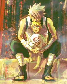 ANBU Kakashi and young Naruto. This would have been cool, but noooo Kakashi didn't do anything for his sensei's orphaned child. Kakashi Anbu, Naruto Uzumaki, Anime Naruto, Naruto And Sasuke, Manga Anime, Fanart Manga, Sasunaru, Narusaku, Naruhina