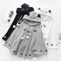 White / Grey / Black Kawaii Neko Paws Hoodie Poncho Cape The clothing culture is quite old. Kawaii Fashion, Lolita Fashion, Cute Fashion, Girl Fashion, Fashion Styles, Rock Fashion, Fashion Boots, Fashion Trends, Womens Fashion