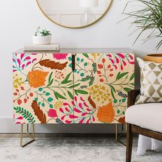 Shop for Deny Designs Floral Charm Credenza (Birch or Walnut, 2 Leg Options). Get free delivery On EVERYTHING* Overstock - Your Online Furniture Shop! Funky Furniture, Art Furniture, Upcycled Furniture, Furniture Projects, Painted Furniture, Furniture Design, Retro Furniture Makeover, Painted Cupboards, Retro Home Decor
