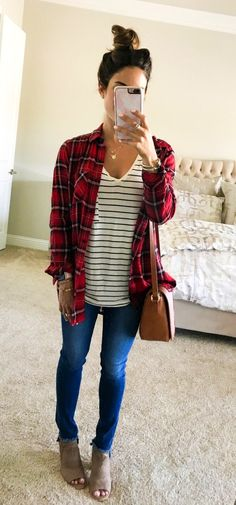 #fall #outfits women's white, red, and black dress shirt