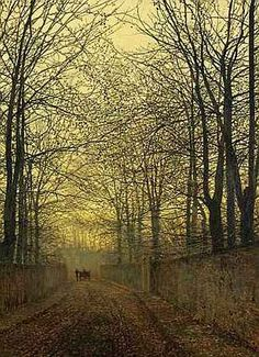 """John Atkinson Grimshaw (1836 –1893 British : October Gold // Victorian-era artist, a """"remarkable and imaginative painter"""" known for his city night-scenes and landscapes"""