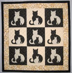 SIDEKICK Cat Applique Baby Quilt from Quilts by Elena