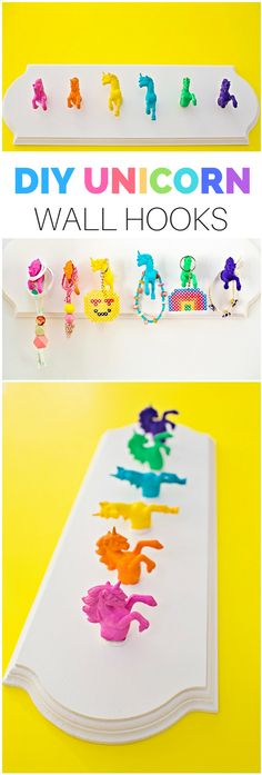 DIY Unicorn Wall Hooks. Use mouldable glue Sugru to make these no tools or screws needed. (AD)
