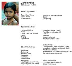 child actor resume tips casting tips casting workbook - Child Actor Resume Format