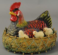 Rooster in Nest, Candy Container.