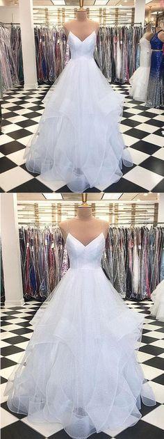 Stylish White Tulle Prom Dress, V neck Simple Wedding Dress, Long Senior Prom Dresses #promdress #promdresses #prom #dress #weddingdresses