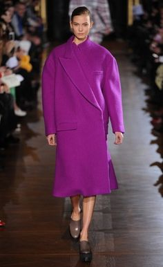 Boxy coat in a strong pink shade
