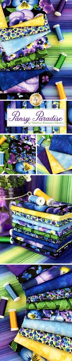 Pansy Paradise is a beautiful collection by Timeless Treasures Fabrics available at Shabby Fabrics! FQ sets and yardage available now while supplies last! Quilting Projects, Quilting Designs, Fabric Panel Quilts, Charm Pack Quilts, Timeless Treasures Fabric, Shabby Fabrics, Small Sewing Projects, Contemporary Quilts, Applique Quilts