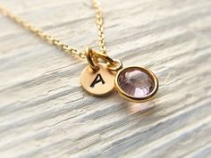 Tiny Initial Necklace with Birthstone, Gold Personalized Necklace, Birthstone Necklace, Minimal Jewelry, New Baby Necklace, Push Present by IrinSkye on Etsy https://www.etsy.com/listing/198475274/tiny-initial-necklace-with-birthstone