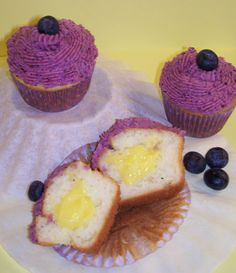 Lemon Filled Cupcakes with Blueberry Buttercream