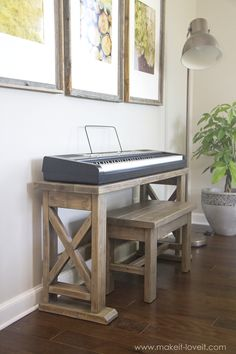 DIY Digital Piano Stand plus Bench (...a $25 project!!)   Make It and Love It Kids Woodworking Projects, Woodworking Patterns, Woodworking Workbench, Woodworking Furniture, Fine Woodworking, Diy Wood Projects, Furniture Plans, Diy Furniture, Woodworking Classes