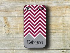 Alpha Phi sorority, big and little, phone case fits iPhone 4/4s/5/5s - Silver and bordeaux chevron - monogrammed gift big sister gift (1134)...