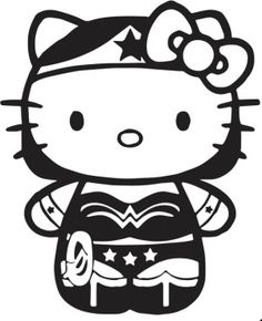 New Custom Screen Printed T-shirt Hello Kitty Wonderwoman Superhero Small - 4XL