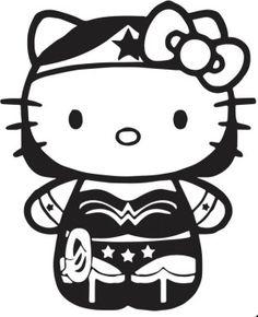 New Custom Screen Printed T-shirt Hello Kitty Wonderwoman Superhero Small - 4XL