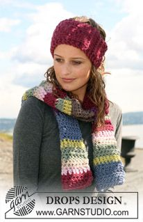 """Set comprising: DROPS crochet scarf in """"Eskimo"""" and knitted ear warmer in 2 threads """"Eskimo"""" or 1 thread """"Polaris"""". ~ DROPS Design"""