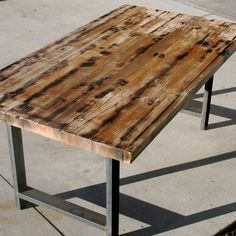 Custom Made Rustic Recycled Butcher Block Dinning Table