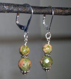 Unakite Silver Earrings - http://www.etsy.com/listing/88364652/unakite-silver-earrings