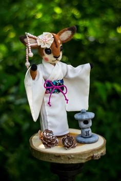 deer in kimono by themimiclothingshop on Etsy Garden Sculpture, Deer, Kimono, Christmas Ornaments, Toys, Holiday Decor, Unique Jewelry, Handmade Gifts, Outdoor Decor