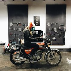 brothermoto:  @hpyness stopped by the shop after going cross country from CA with @cierrarrose for a oil change and good hangs. Good luck on your way to NYC! #trampingthestates