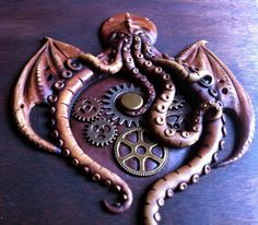 Wood and leather steampunk octopus cthulu wedding album
