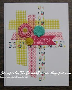 washi tape and clay flowers stampin up