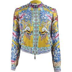 ROBERTO CAVALLI Zip Up Print Silk Bomber ($1,870) ❤ liked on Polyvore