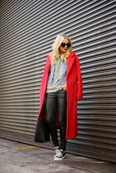 leather trousers with casual tee and coat