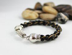 Hand Braided Black Leather Bracelet by Jewelshart