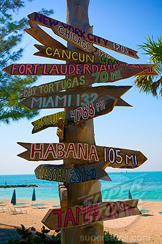 Directional signs on a wooden post on the beach, Key West, Florida ...