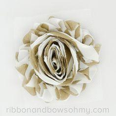 Ribbon And Bows Oh My! Mocha <3 17 colors of #chevron Shabby Chiffon Flowers! #chiffonflower #shabbychic