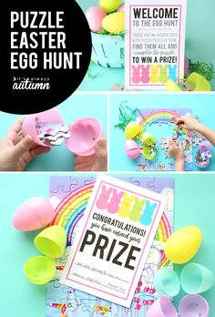 This puzzle Easter egg hunt idea is so much fun! Don't put candy or plastic junk in the eggs - put puzzle pieces in instead. When kids finish the puzzle, they get a prize.
