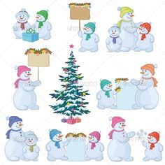 Set Snowmen and Christmas Trees  #GraphicRiver         Christmas tree and set cartoon snowman with gifts and a banners for your text   Vector EPS 8 plus AI CS 5 plus high-quality Jpeg. Editable vector file, containing only vector shapes. No gradients.