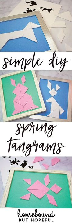 These easy spring tangram puzzles are a quick and simple DIY project that will keep kids thinking! They're perfect to pop into an Easter basket to keep your kiddos busy without resorting to screen time. I've included free printables to get your project started.