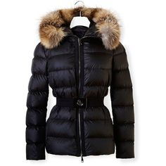 Moncler Fabrette Coat ($995) ❤ liked on Polyvore featuring outerwear, coats, fur-trimmed coat, black puffy jacket, belted puffer jacket, black puffer jacket and belted coat