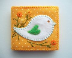 Needle Book Yellow Felt with White Polka Dots and Folk Art Bird Hand Embroidered Flowers Handsewn Needle Case, Needle Book, Needle Felting, Wool Embroidery, Wool Applique, Felted Wool Crafts, Felt Crafts, Love Sewing, Hand Sewing